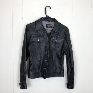 Vintage Leather Button Down Jacket Sz S